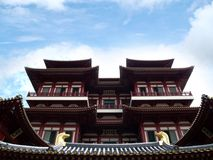 China temple with sky and clouds Royalty Free Stock Images