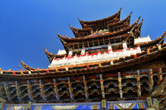 China Temples on sky and a monk Stock Photo