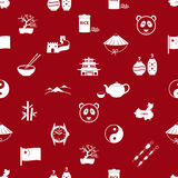 China theme icons white and red seamless pattern Stock Images