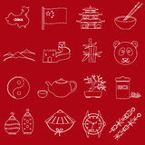 China theme red and white outline icons set Stock Images