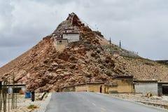 China, Tibet, Chiu Gompa monastery on a hill on the shore of lake Manasarovar.  royalty free stock photo