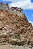 China, Tibet, Chiu Gompa monastery on the hill on the shore of lake Manasarovar.  stock photos