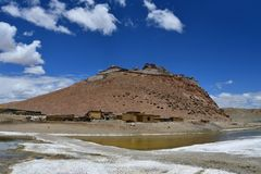 China, Tibet, Chiu Gompa monastery on a hill on the shore of lake Manasarovar.  stock photography