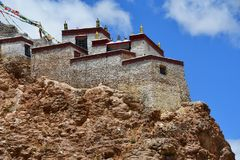 China, Tibet, Chiu Gompa monastery on the hill on the shore of lake Manasarovar.  royalty free stock photos