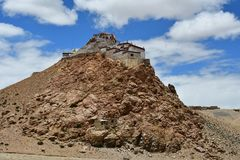 China, Tibet, Chiu Gompa monastery on the hill on the shore of lake Manasarovar.  stock images