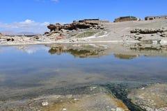 China, Tibet, de hete radonlentes op de rivier van Ganga Chu stock foto
