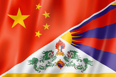 China and Tibet flag Stock Photo
