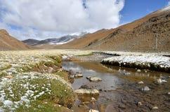 China, Tibet, Gebirgsfluss auf dem Weg zum Kering See im Sommer stockbilder
