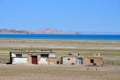 China, Tibet. Small farm on the shore of lake Seling royalty free stock photos