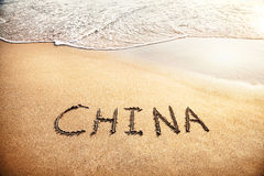 China title on the sand Royalty Free Stock Image