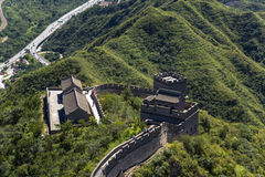 China. Top view of a fragment of the Great Wall of China Stock Photos