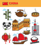 China tourism travel landmarks and Chinese culture famous symbols vector icons set Stock Photo