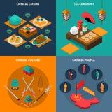 China Touristic Isometric 2x2 Icons Set Stock Image