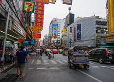 People and traffic at China town,Bangkok,Thailand stock photos