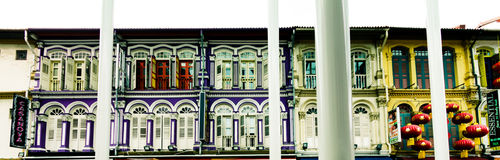 China town. Colorful buildings in Chinatown neighbourhood of Singapore Royalty Free Stock Photos