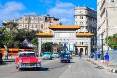 China town, Havana Cuba. Red car, China town, Havana Cuba Stock Photo