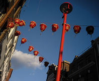 China Town lanterns. Colourful lanterns strung across a street in London's China Town Stock Images