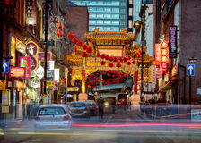 China town manchester. Manchester, England February 20, 2015 - China town in Manchester on the chinese new year stock image
