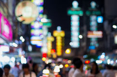 The china town at night, Blurred Photo bokeh. Thailand Stock Photography