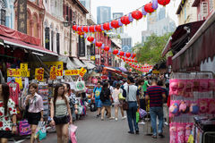 CHINA TOWN,SINGAPORE - June 4 2015: Tourist people walking and s Stock Images