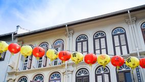 China town street in singapore. China town street with red paper lanterns in singapore Royalty Free Stock Image