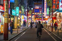 China Town walking street at night with lifestyle of Japanese and Chinese stock image