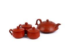 China tradicional brown tea pot and tea cups Royalty Free Stock Photo