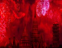 China tradition chinese new year celebration concept chinese towers with fireworks and a big dragon in the sky amazing background stock image