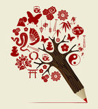 China tradition concept pencil tree Stock Photo