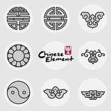 China traditional auspicious icons pattern set Stock Photos