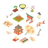 China traditional culture icons set, cartoon style. China traditional culture icons set in cartoon style. Travel attraction elements set collection vector Royalty Free Stock Photos
