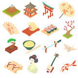 China traditional culture icons set, cartoon style Royalty Free Stock Images