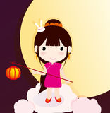 China traditional festival Mid-Autumn. Mid-Autumn lantern rabbit girl ,China Stock Image