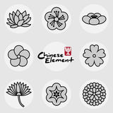 China traditional floral icons pattern set Royalty Free Stock Photography
