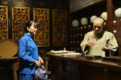 China traditional medicine store or old Chinese pharmacy Royalty Free Stock Images