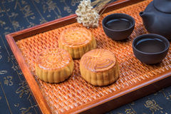 China traditional moon cake and tea Stock Images