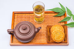 China traditional moon cake and tea Royalty Free Stock Photos