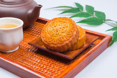 China traditional moon cake and tea Stock Photo