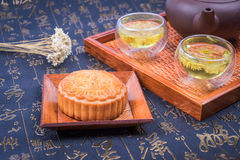 China traditional moon cake and tea Royalty Free Stock Image