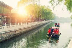 China traditional tourist boats on Beijing canals of Qianhai lak. E at ShiChaHai district in Beijing, China Royalty Free Stock Photos