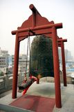China Travel. The bell is seen atop the Bell Tower in Xi` An, China Royalty Free Stock Photo