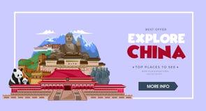 China travel concept. Beautiful China travel destinations. Explore Asia trip illustration. Vector travel design concept.  royalty free illustration