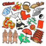 China Travel Elements with Architecture and Panda. Vector Doodle Stock Images