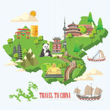 China travel illustration with chinese green map. Chinese set with architecture, food, costumes, traditional symbols. Chinese tex Royalty Free Stock Photography
