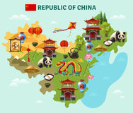 China Travel Sightseeing Map Poster. China travel sightseeing map with culture traditions national cuisine dishes and places of interest symbols vector vector illustration