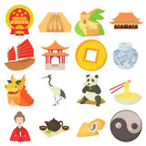 China travel sport icons set, cartoon style Royalty Free Stock Images