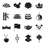China travel symbols icons set, simple style Royalty Free Stock Photo