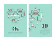 China travel tour booklet set in linear style Stock Photos