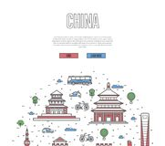 China travel tour poster in linear style Royalty Free Stock Photo