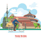 China travel vector illustration with bicycle. Chinese set with architecture, food, costumes, traditional symbols. Chinese tex Royalty Free Stock Image